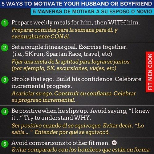 5 Ways to Motivate Your Husband o Boyfriend / 5 Maneras de Motivar a tu Marido o Novio | Fit Men Cook