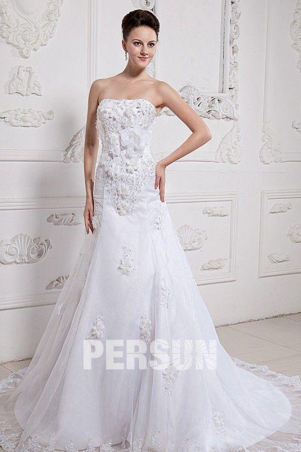 Abito da  Sposa  Gonna Nuziale Con Applicazioni e Fiori Fatti a Mano in   Ventita  Online - Persunit.com 85c4cedb228