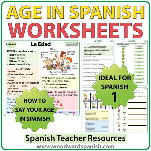 Spanish Age Worksheets | Age in spanish, Spanish, Spanish ...