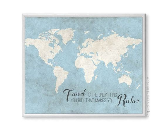 World map wall art print with travel quote by paperplaneprints world map wall art print with travel quote by paperplaneprints 2500 gumiabroncs Choice Image