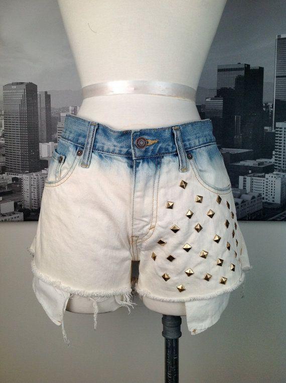 Bleached Cutoff Denim Shorts with Stud detail by SelvedgeDrygoods #cutoffs #bleached #studds #fashion #dtla #echopark