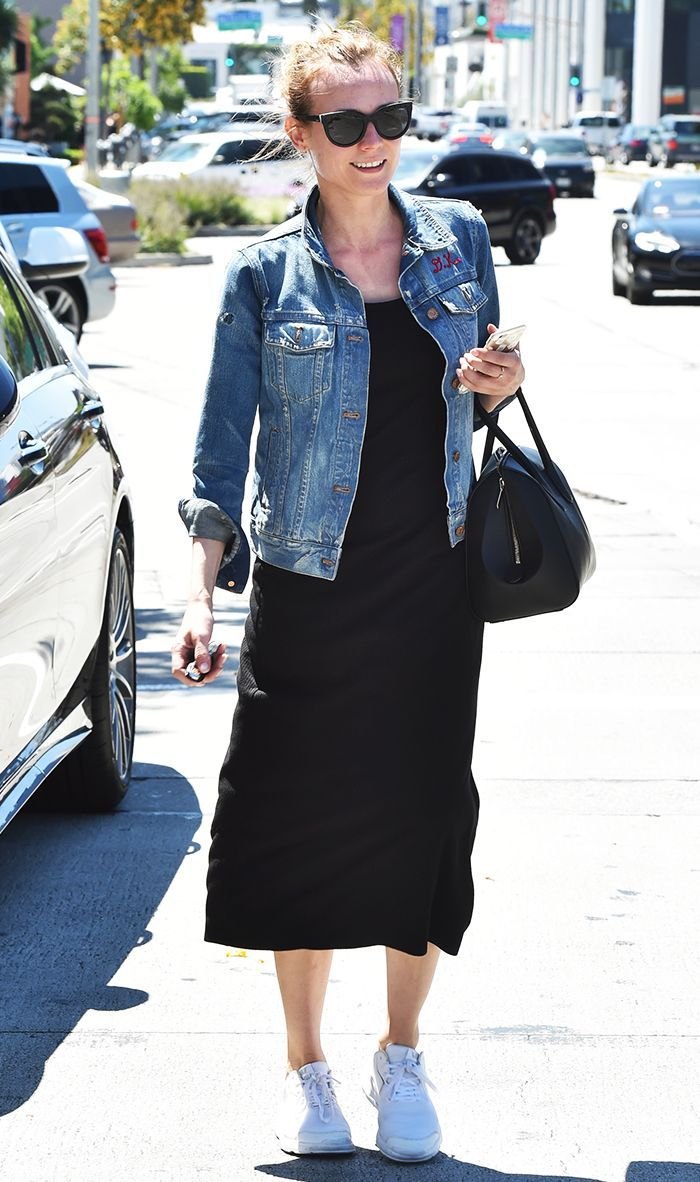 How To Wear Sneakers At Any Age How To Wear Sneakers Denim Jacket With Dress Midi Dress Sneakers [ 1182 x 700 Pixel ]