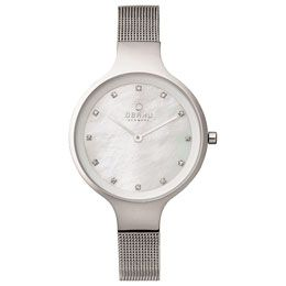 OBAKU Sky - steel // stainless steel watch with Swarovski elements and a genuine Mother of Pearl dial
