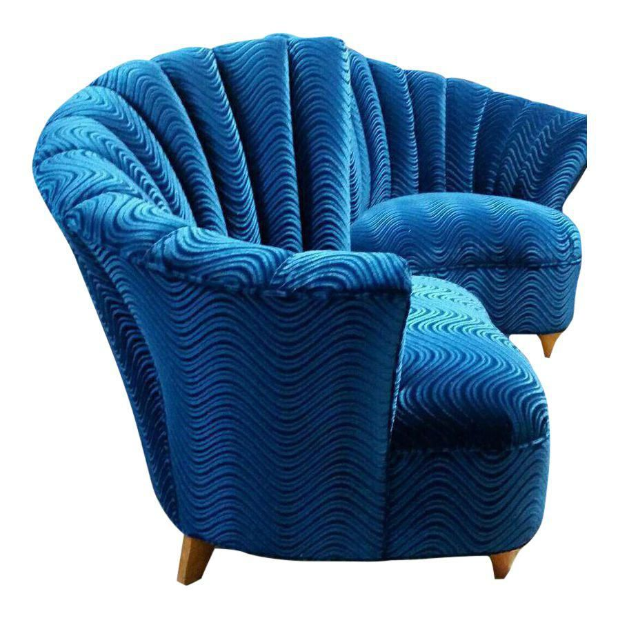 Best Mid Century Hollywood Regency Blue Velvet Club Chairs A 400 x 300