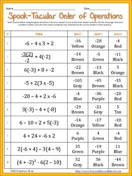 Order Of Operations With Integers Coloring Worksheet