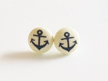 Anchors Aweigh - Fabric Covered Button Post Earrings only $6!!!! I had to buy them <3