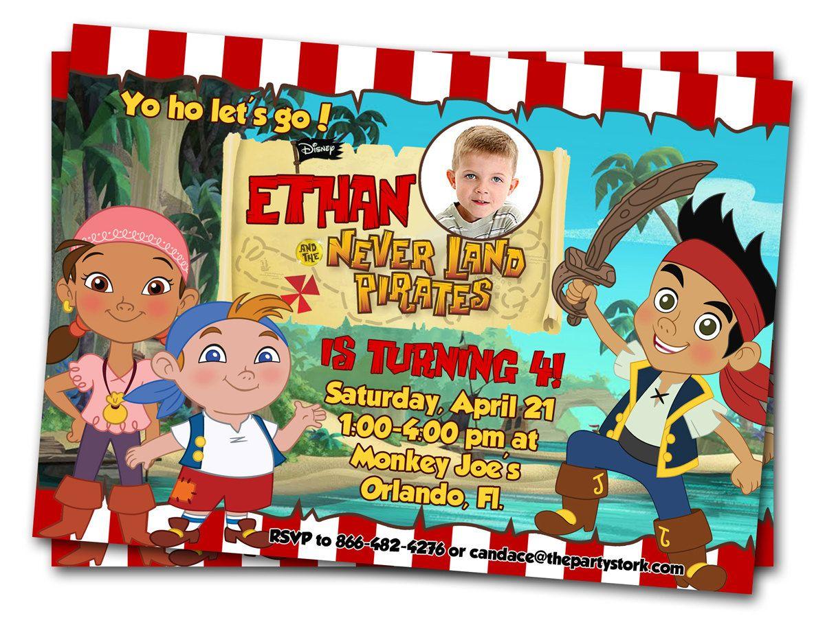 Jake and the Neverland Pirates Invitations: Printable Boys Custom ...