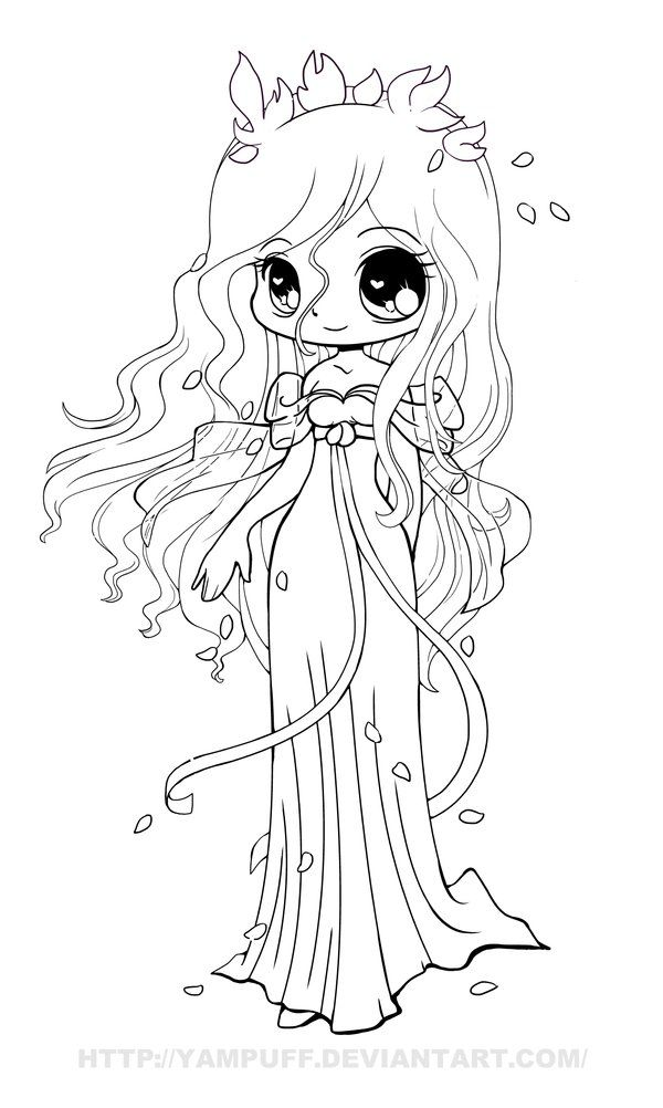 Giselle Chibi Lineart by *YamPuff on deviantART (con