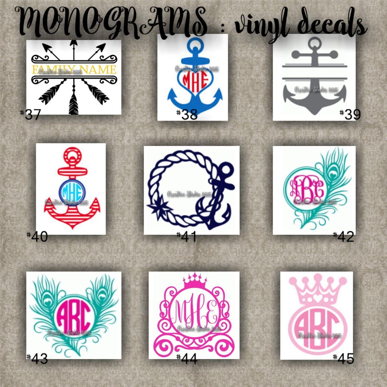 Monogram vinyl decals name initial decal sticker car decals car stickers laptop sticker 37 45