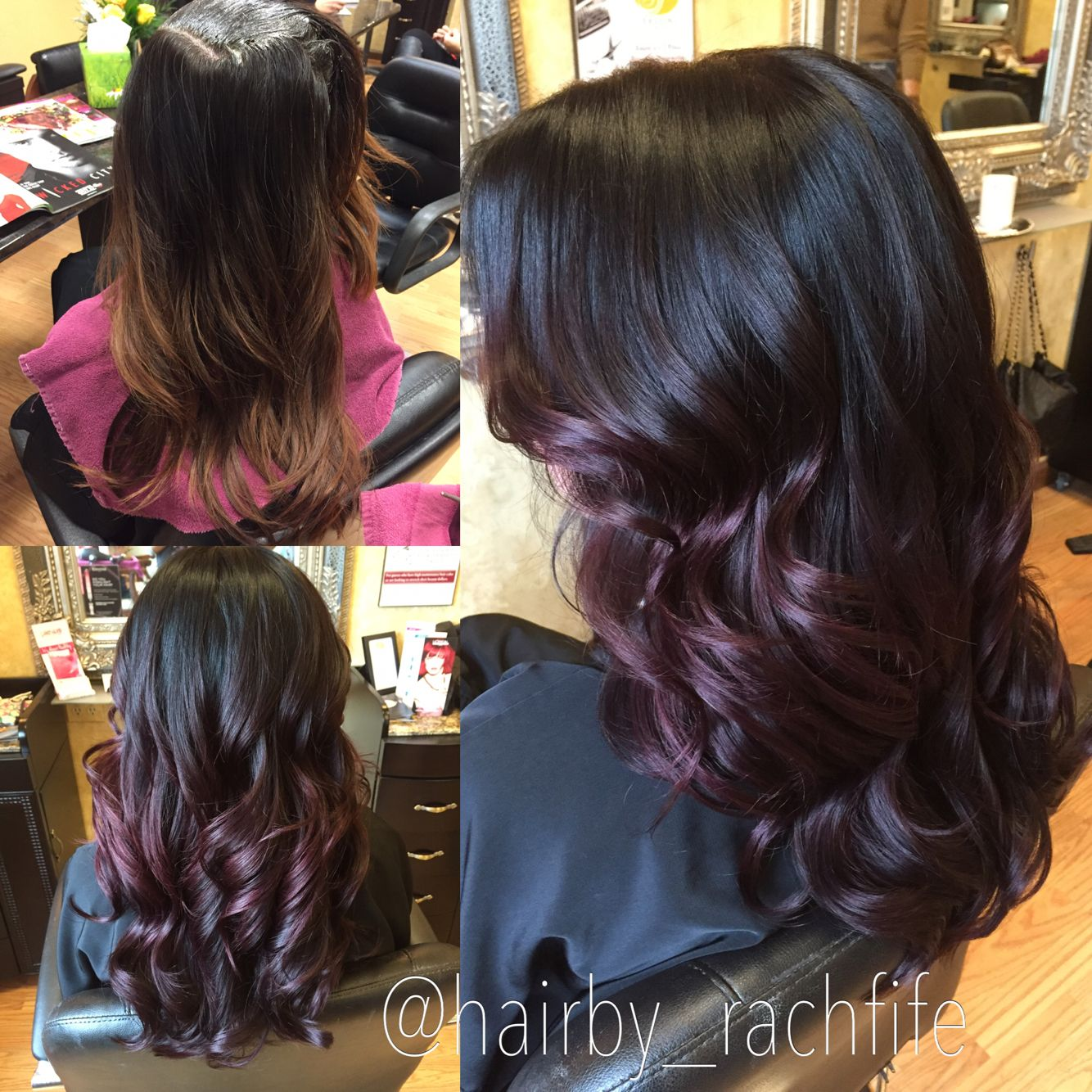 Before and after plum ombre. Purple hair color melt ...