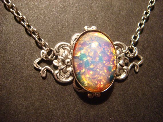 Victorian Style Fire Opal on Floral Setting Necklace in Antique Silver