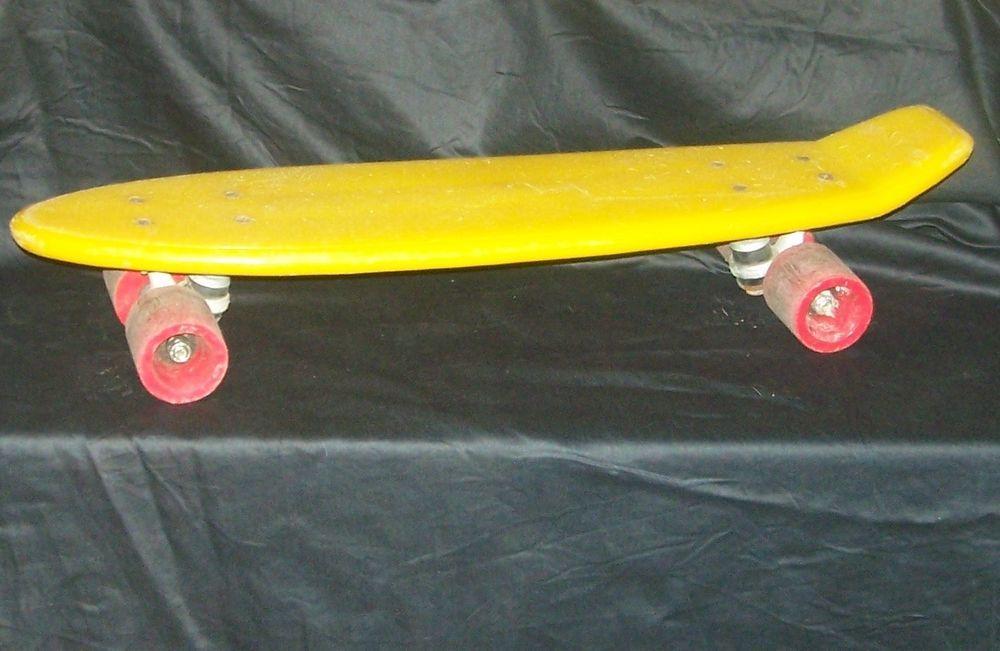 Vintage Retro 1970s Yellow Plastic Skateboard Unbranded