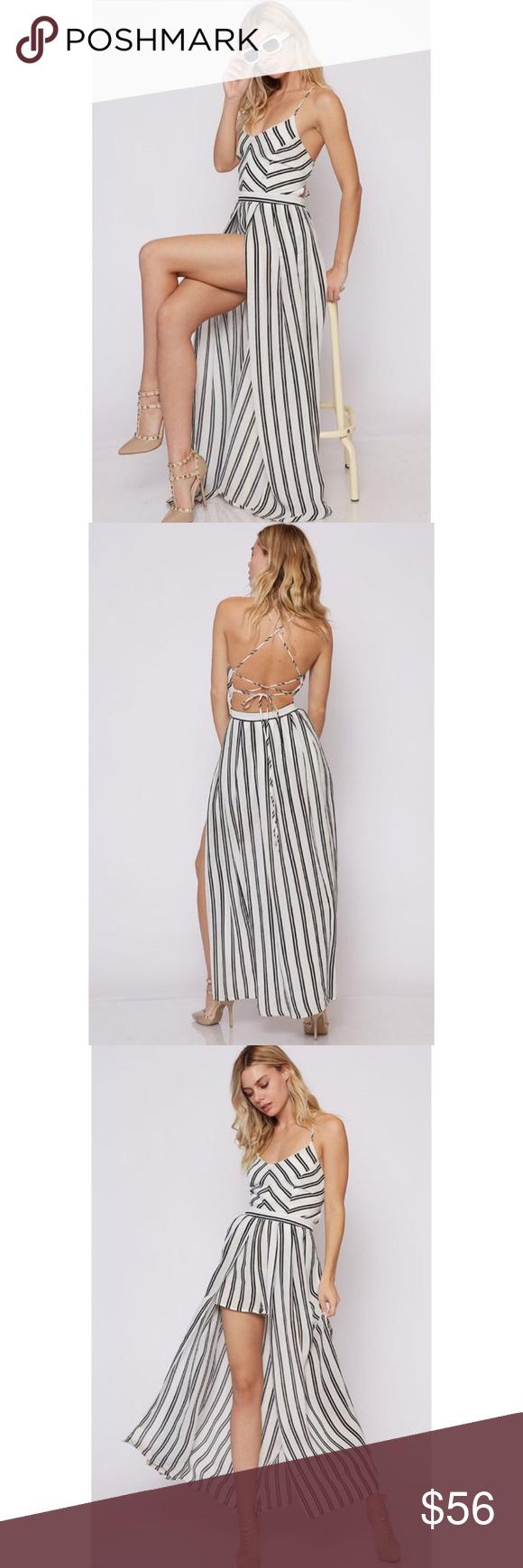 White u black striped strappy back maxi romper boutique pinterest