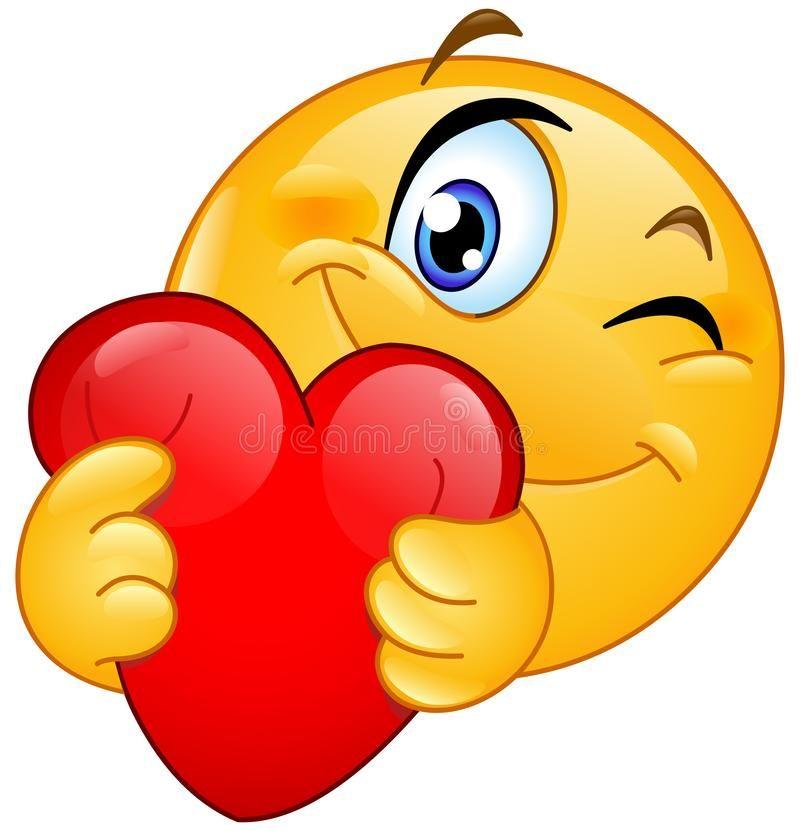 Emoticon que abraza el corazón ilustración del vector (con ...