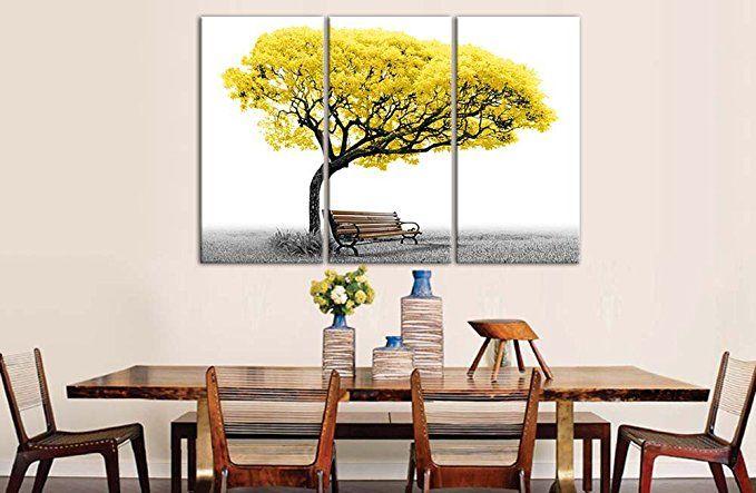 Impression sur toile peintures pour décoration de maison Jaune Arbre