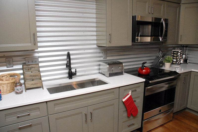creative and inexpensive backsplash ideas: corrugated metal