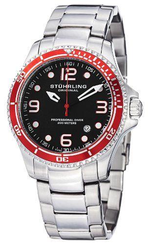 85% Off was $395.00, now is $59.99! Stuhrling Original Men`s 593.332TT11 Aquadiver Grand Regatta Swiss Quartz Diver Date Red Bezel Watch + Free Shipping