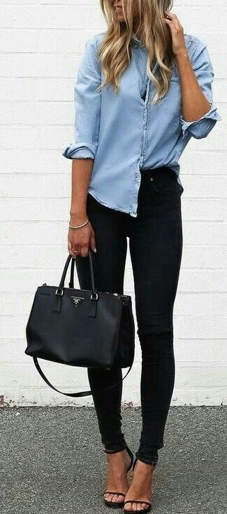 672b2a6e393 Light blue button up and dark jeans. Visit Daily Dress Me at  dailydressme.com for more inspiration.
