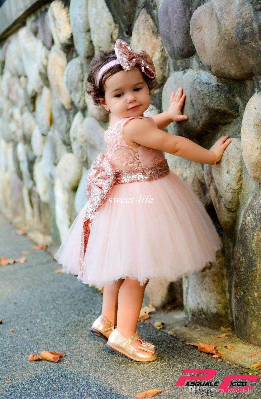 Baby Infant Toddler Birthday Party Dresses Blush Rose Gold Sequins Bow Lace Te Toddler Flower Girl Dresses Wedding Flower Girl Dresses Flower Girl Dresses Navy [ 1280 x 838 Pixel ]