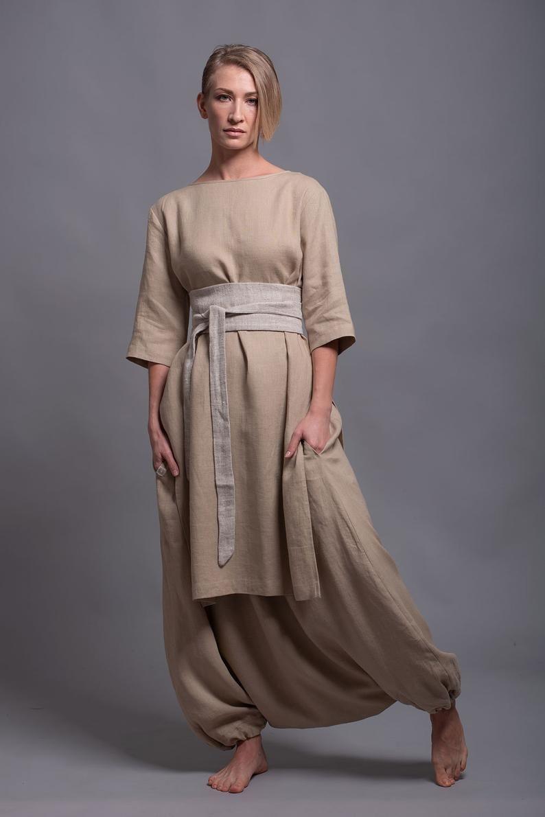 Plus Size Linen Dress Oversized Linen Dress with Pockets Drop Shoulder Sleeve Kimono Linen Dress Loose Fit Linen Dress Womens Dress