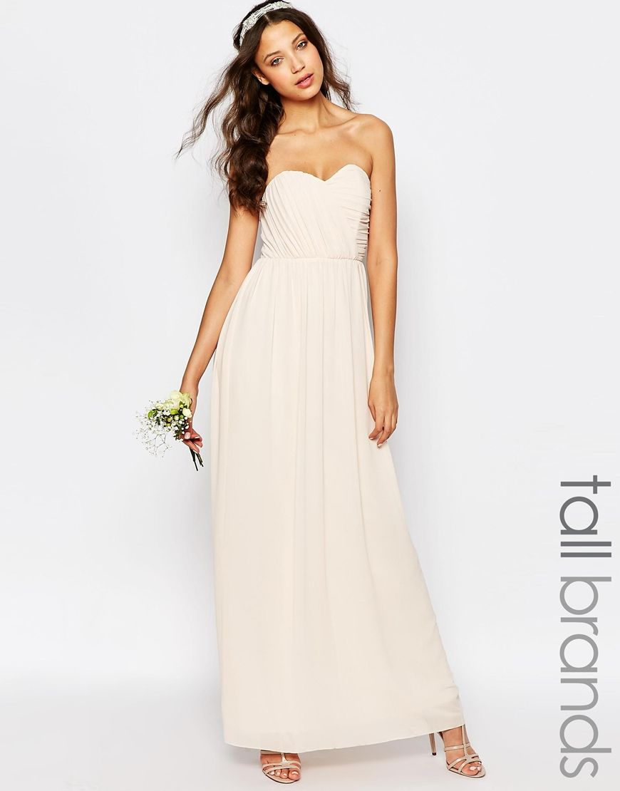 Image 1 Of TFNC Tall WEDDING Bandeau Chiffon Maxi Dress