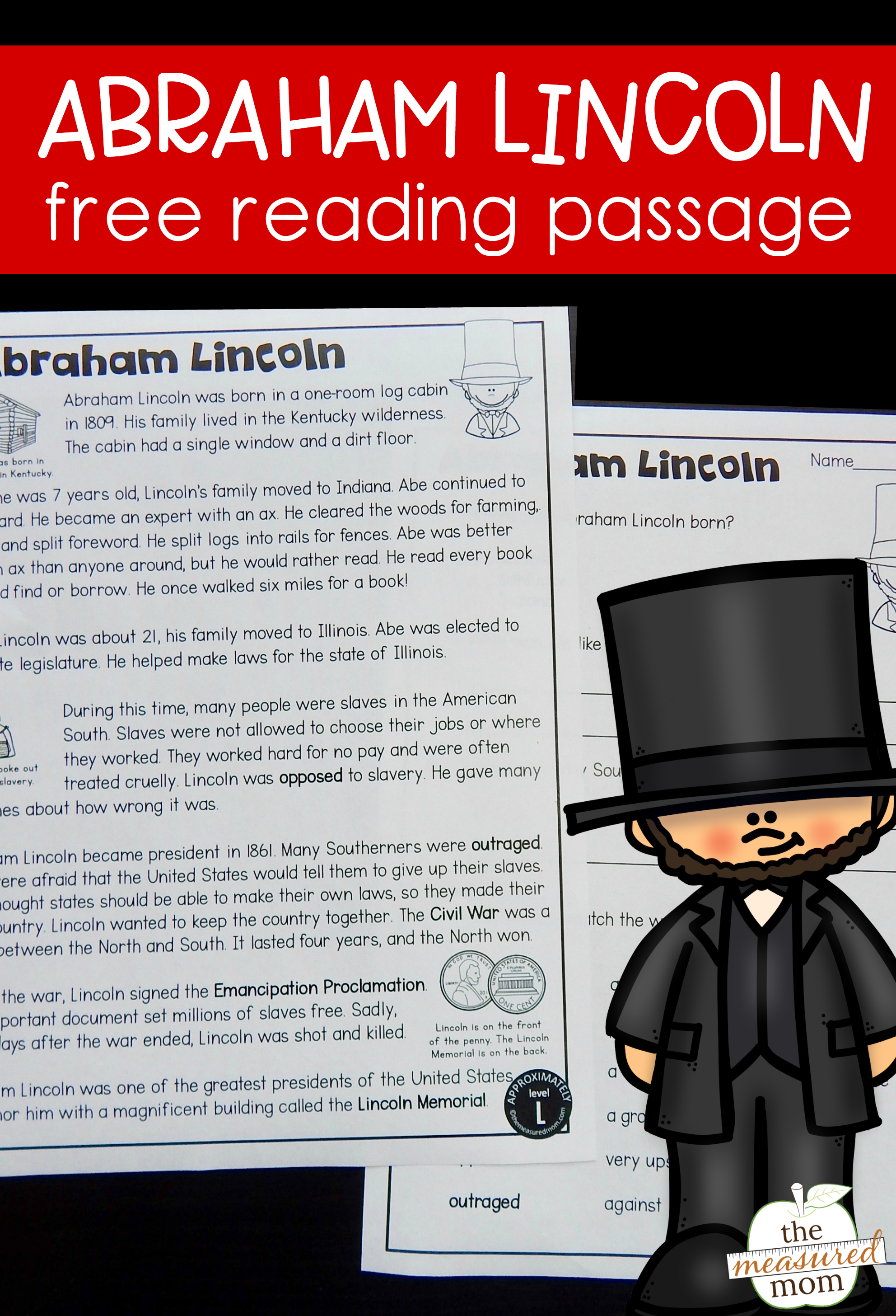 Free Reading Passage Abraham Lincoln For Kids