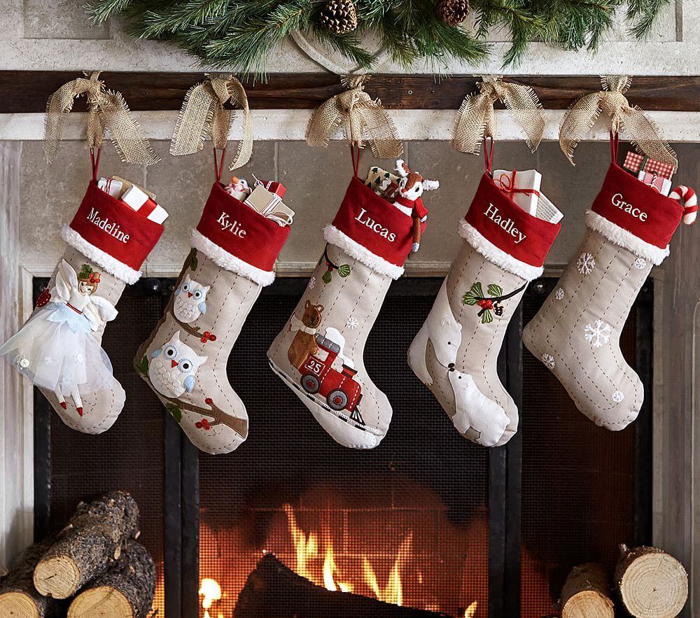 Woodland Stocking Collection Pottery Barn Kids Christmas Stockings Diy Pottery Barn Christmas Christmas Stockings Personalized