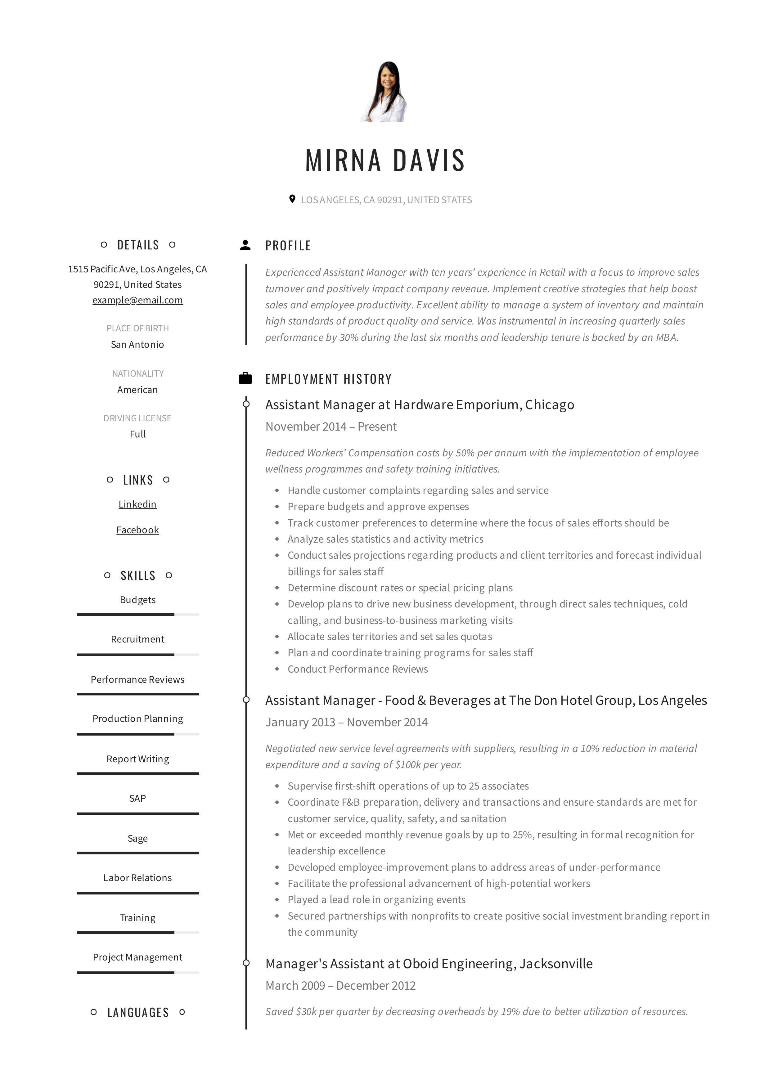 Assistant Manager Resume Example In 2020 Manager Resume Guided Writing Assistant Manager