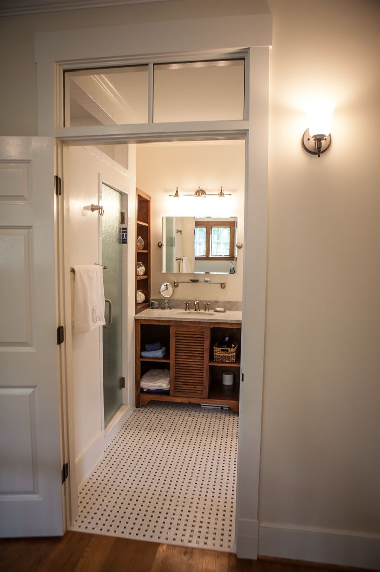 Transom Over A Bathroom Door To Allow In Natural Light