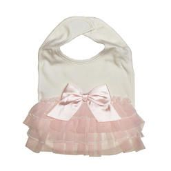 575aaa9ea3a Babies R Us Koala Baby Boutique Ivory Ruffle Bib with Pink Bow Detail