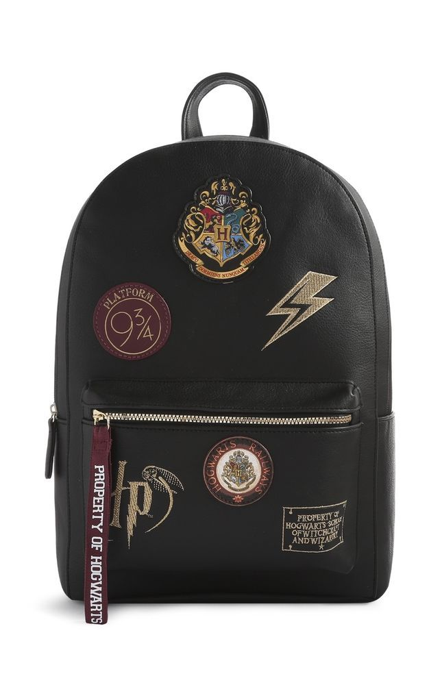 Harry Potter Back-Bag Hogwarts Platform 93/4 Appliquéd Black Bag FREE DELIVERY! #Primark #Backpack #backpacks