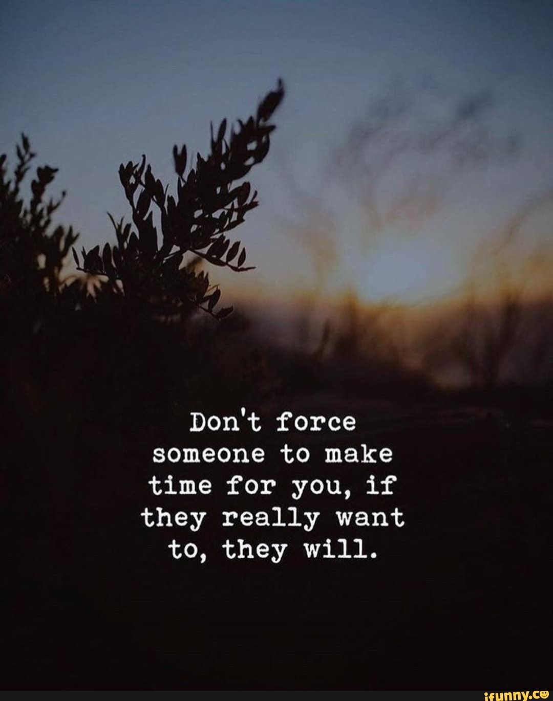 Dont force someone to make time for you, if they really want to, they will. – iFunny :)