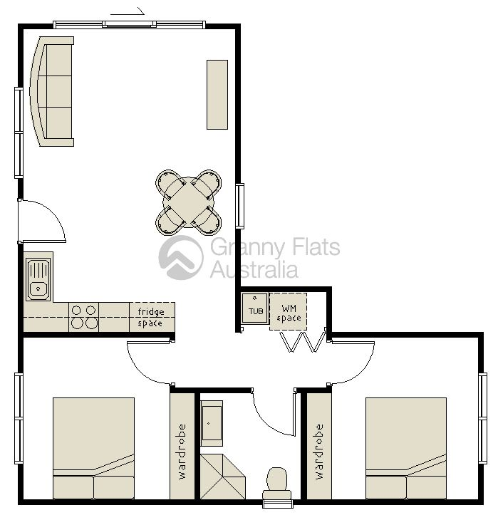 2 Bedroom Granny Flat Archives Granny Flats Australia Small House Plans House Plans L Shaped House Plans