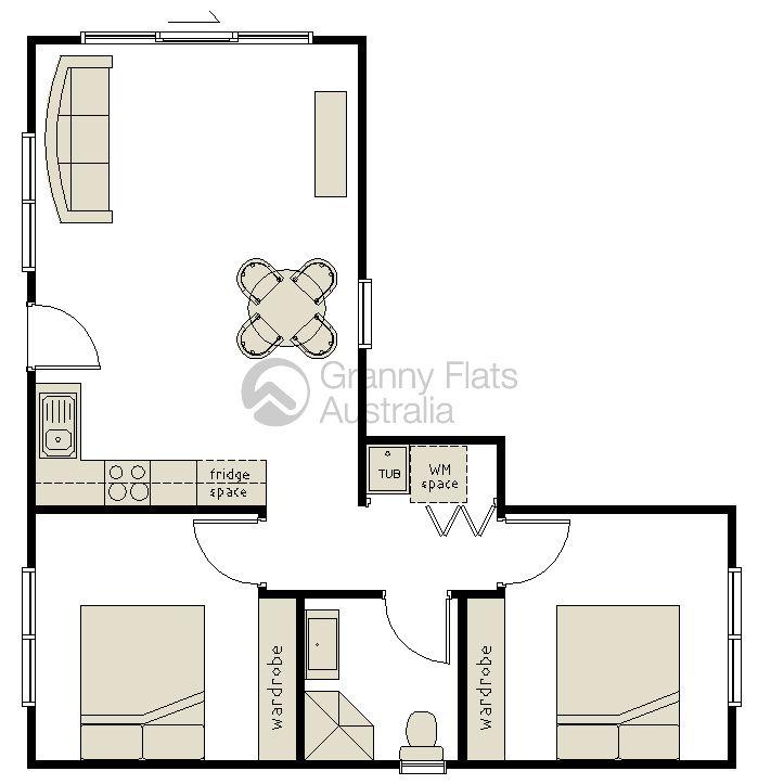 2 bedroom granny flat archives granny flats australia for Floor plans granny flats