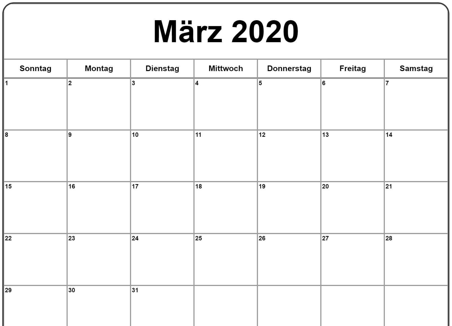 Marz 2020 Kalender 2019 Kalender Kalender Kalender Vorlagen
