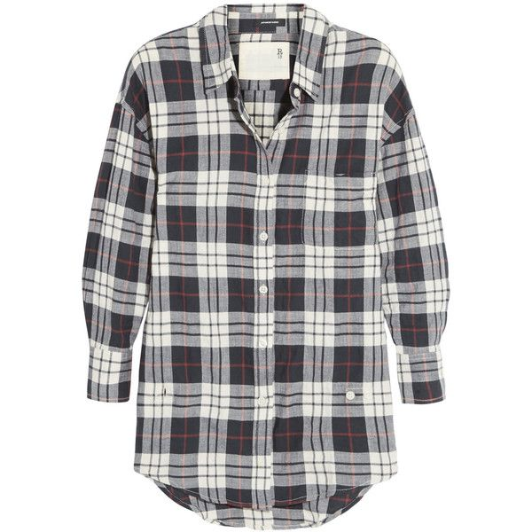 R13Wrap-effect Plaid Cotton-blend Shirt ($146) ❤ liked on Polyvore featuring tops, flannel, navy, relax shirt, shirt tops, plaid shirts, navy blue plaid shirt and tartan shirt