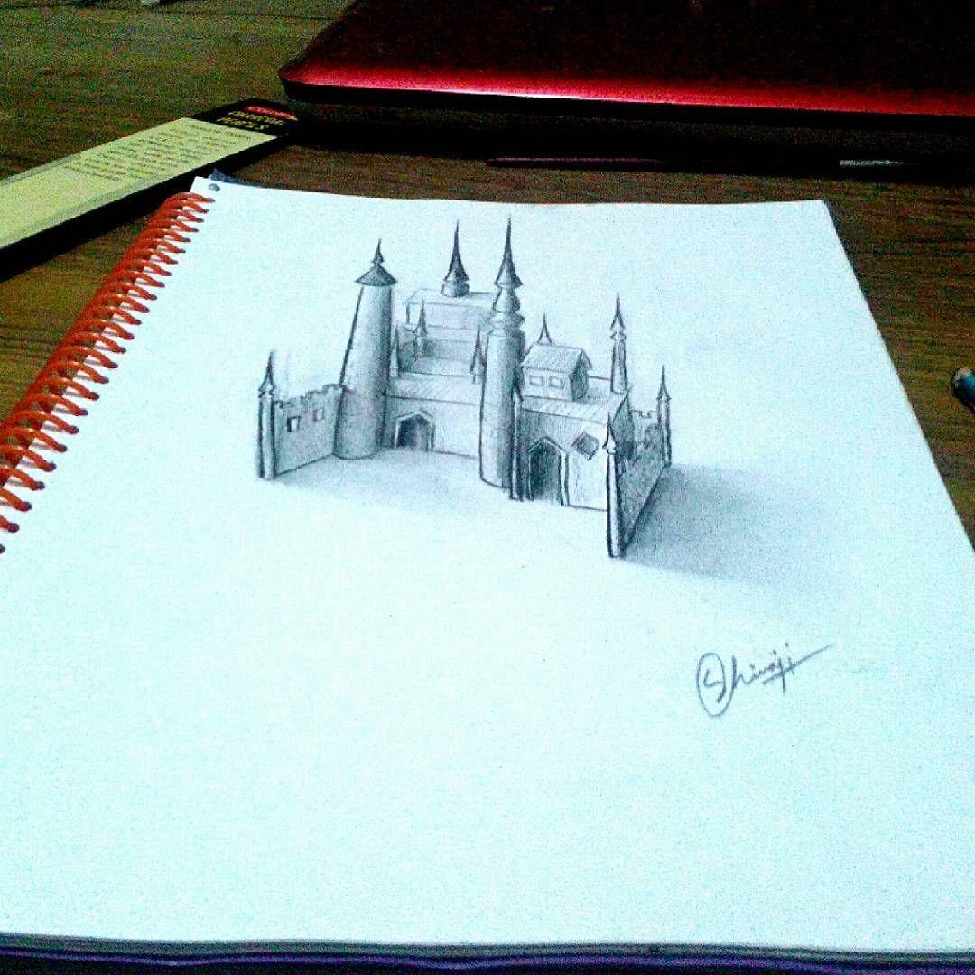 Drew A 3d Castle Art Illustration Drawing Draw Picture Artist Sketch Sketchbook Paper Pen Pencil Artsy Instaart 3d Castle Sketch Book Draw
