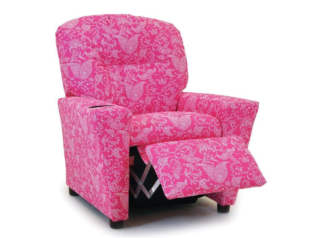 Kidz World Living Room Baby Pink Paisley Recliner