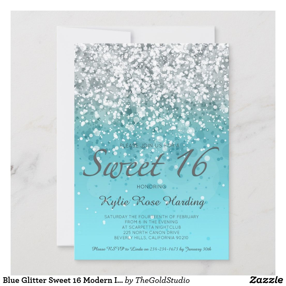 Blue Glitter Sweet 16 Modern Invitation Card Zazzle Com Dengan