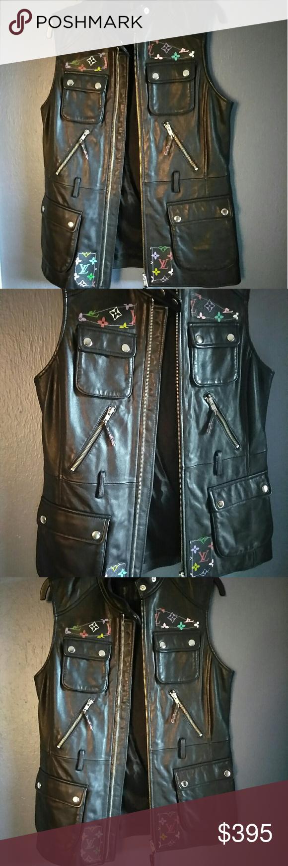 Authentic Black LV Print Jacket Sz S Leather Black Louis