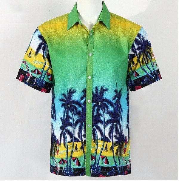 f32a2886 Mens Summer Hawaii Coconut Tree Printing Casual Quick dry Short Sleeved  Beach Shirts