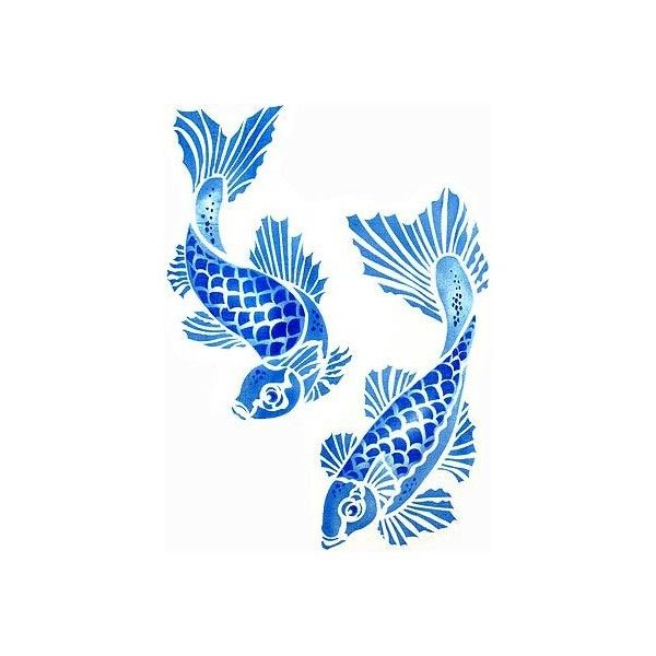 Koi Carp Stencil ($51) ❤ liked on Polyvore