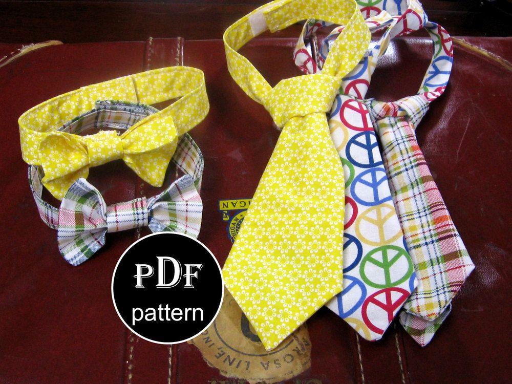 Baby Boy Sewing Pattern...PDF...0-6 months...8 Necktie and Bowtie ...
