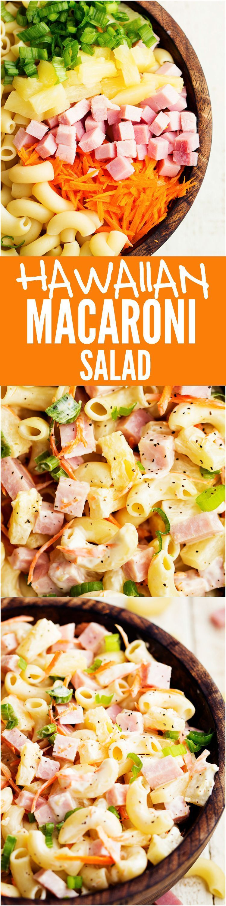 Macaroni Salad This Hawaiian Pasta salad has ham and pineapple hidden inside and the pineapple dressing is the BEST part!This Hawaiian Pasta salad has ham and pineapple hidden inside and the pineapple dressing is the BEST part!