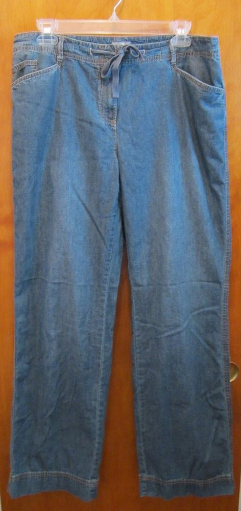 J. JILL Drawstring Tie Waist Denim Jeans - SIZE 12 - Lightweight - Straight Leg #JJill #StraightLeg #ebaydeals #ebay #fashion #freeshipping #makeoffer #bestoffer #denim #vacation #travel