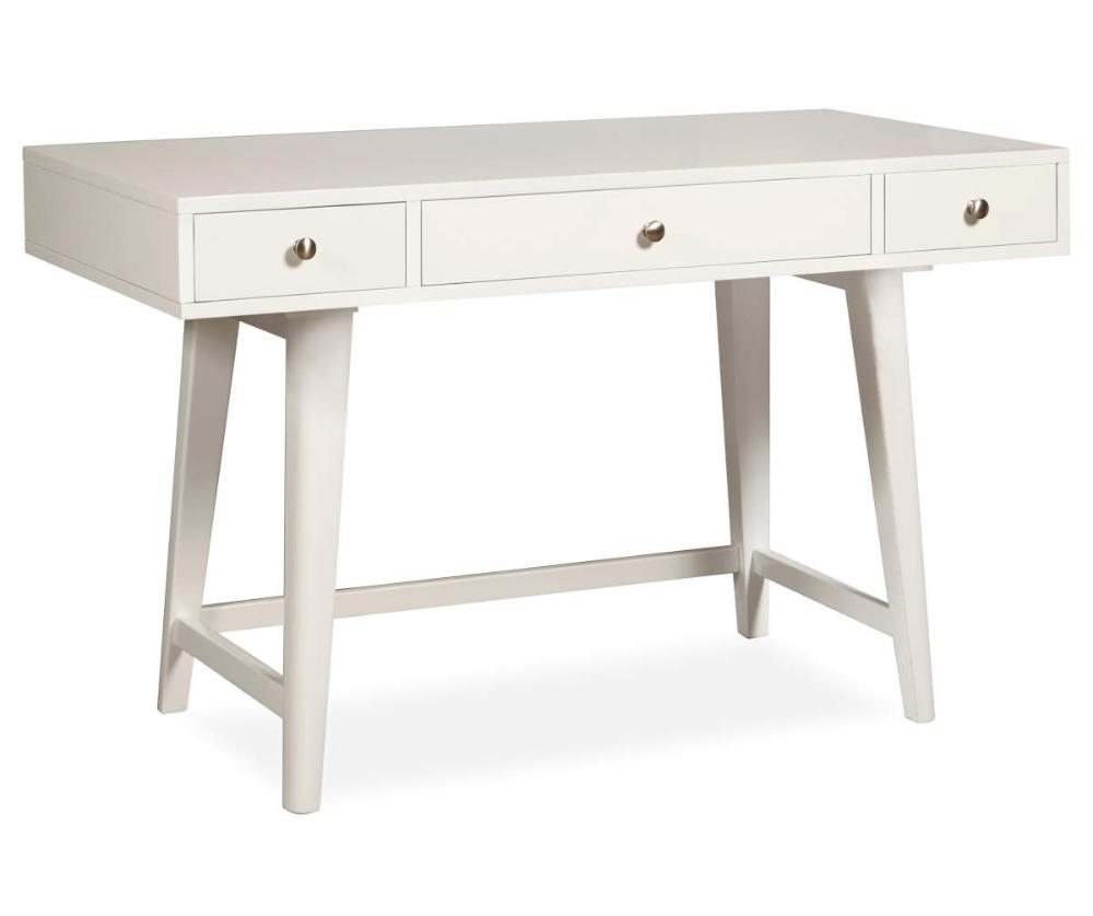 White Mid Century 3 Drawer Desk Big Lots In 2020 Desk With Drawers Mid Century Desk Affordable Desk