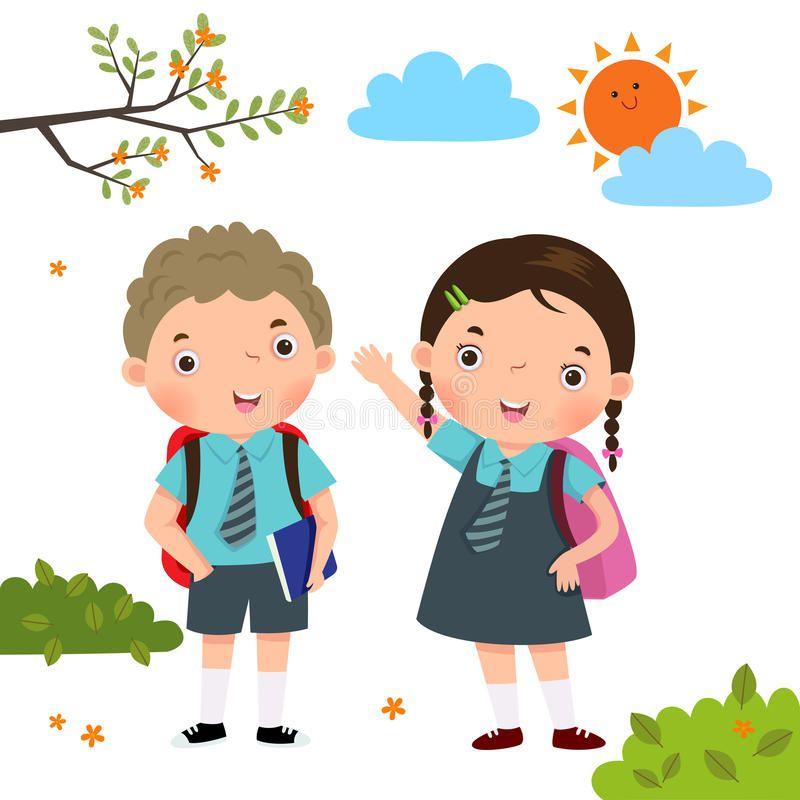 Two Kids In School Uniform Going To School Vector Illustration Of Two Kids In S Affiliate School School Cartoon School Illustration Kids Going To School