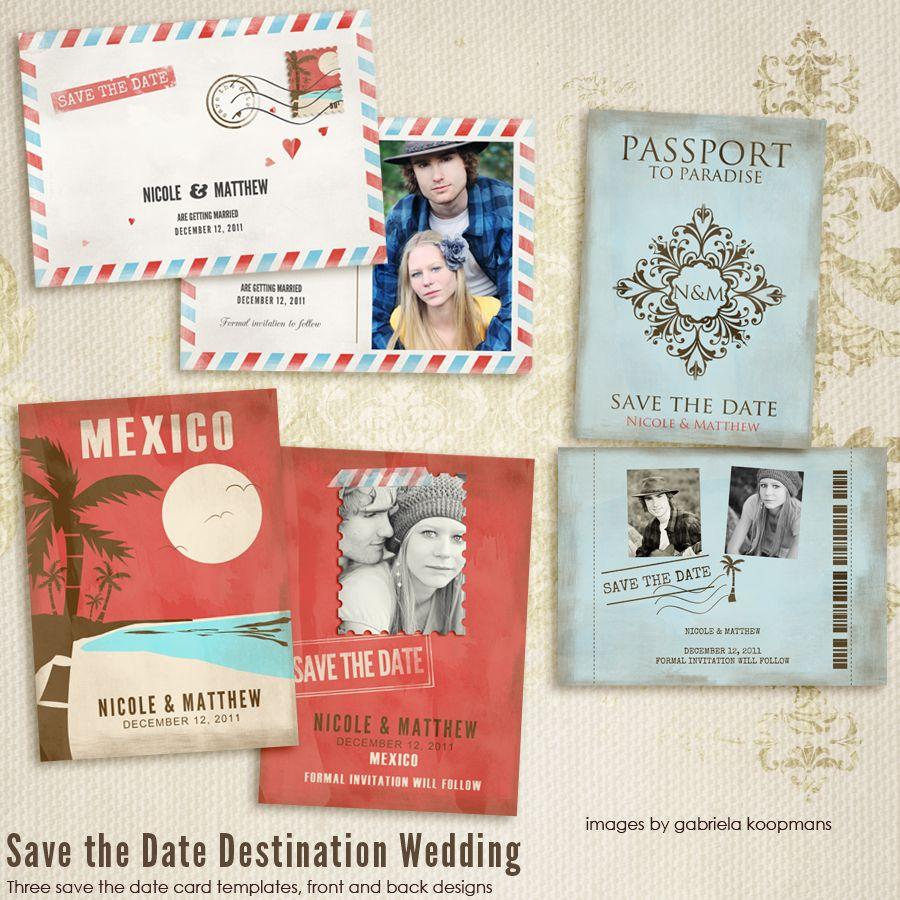 Destination Wedding Save the Date Cards. Viva Mexico, Par Avion ...