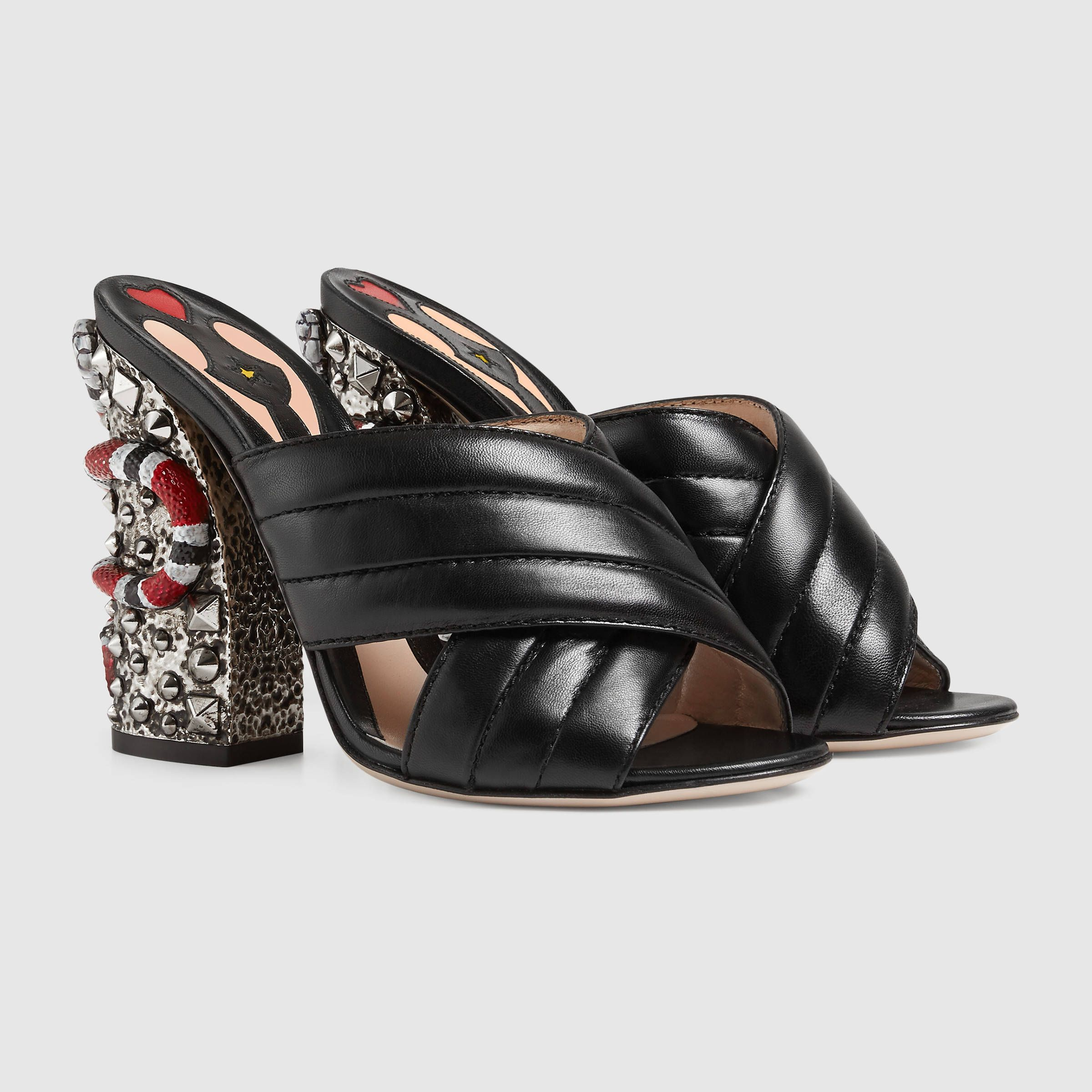 Gucci Leather Crossover Sandal   990 Style 423257 C9D00 1000 ... a56f28606