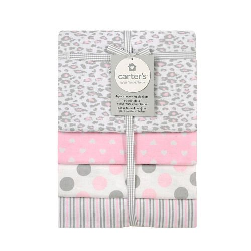 Carter S Pink Cheeta 4 Pack Flannel Receiving Blanket